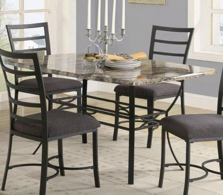 Best And Newest Dining Table With Faux Marble Top In Black Metal Finish Pertaining To Faux Marble Finish Metal Contemporary Dining Tables (#1 of 20)