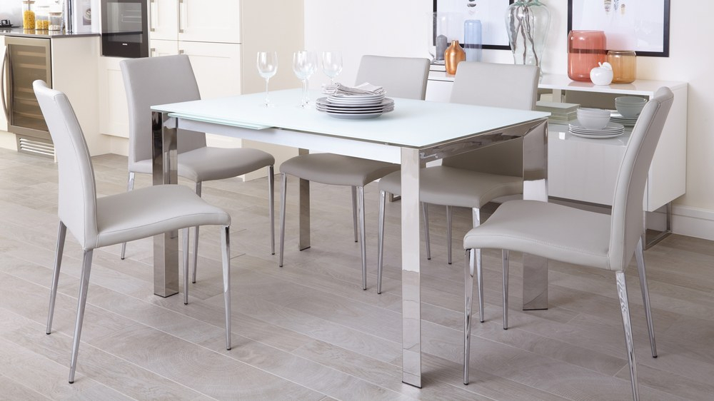Best And Newest Frosted Glass Modern Dining Tables With Grey Finish Metal Tapered Legs With Regard To Eve White Frosted Glass With Chrome And Elise Extending Dining Set (#3 of 20)