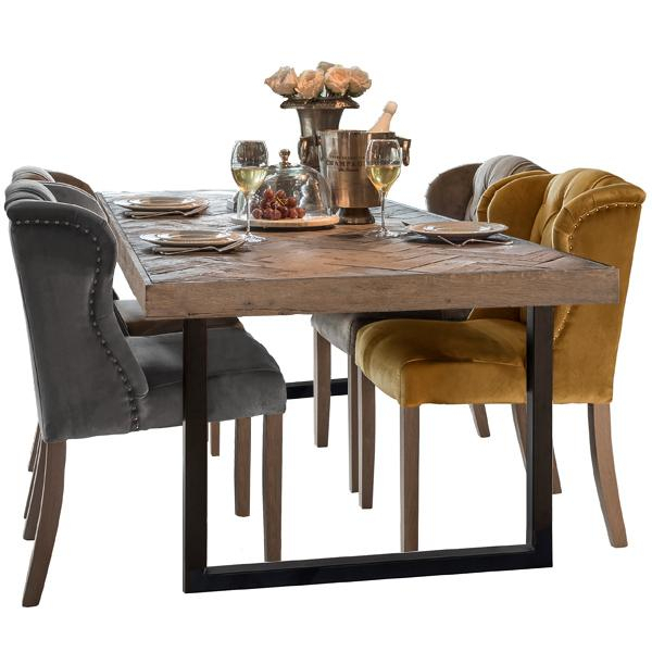 Best And Newest Industrial Dining Room Table And Chairs Fantasy Kingsbridge For Eames Style Dining Tables With Chromed Leg And Tempered Glass Top (#2 of 20)