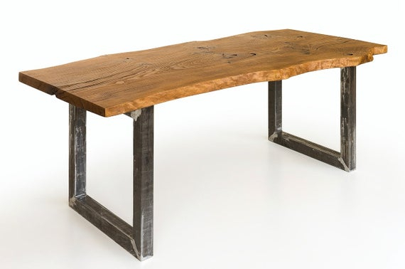 Best And Newest Industrial Single Oak Plank Dining Table Intended For Acacia Wood Top Dining Tables With Iron Legs On Raw Metal (#6 of 20)