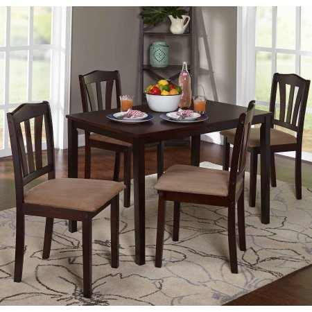 Best And Newest Metropolitan 5 Piece Dining Set Wood Classic Modern Design Includes 4  Upholstered Chairs And Rectangle Kitchen Dining Table In Espresso New Intended For Espresso Finish Wood Classic Design Dining Tables (#2 of 20)