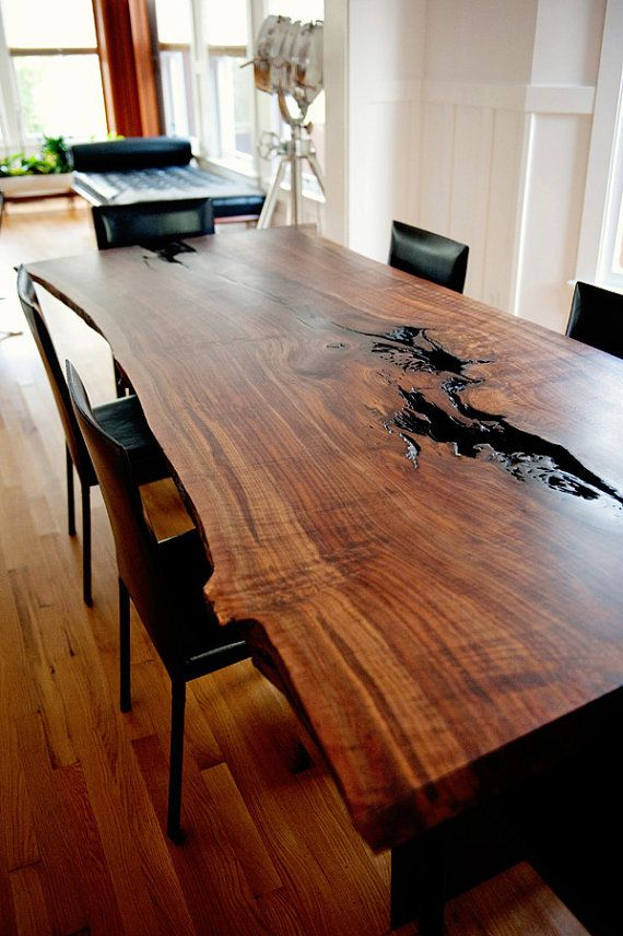 Best And Newest Modern Live Edge Slab Dining Table Claro Inside Walnut Finish Live Edge Wood Contemporary Dining Tables (#1 of 20)