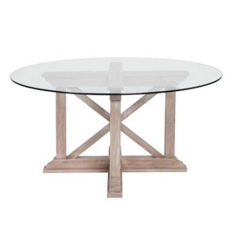 Best And Newest Rencourt Round Dining Table – White Wash W/glass Top From Z With Glass Top Condo Dining Tables (#4 of 20)