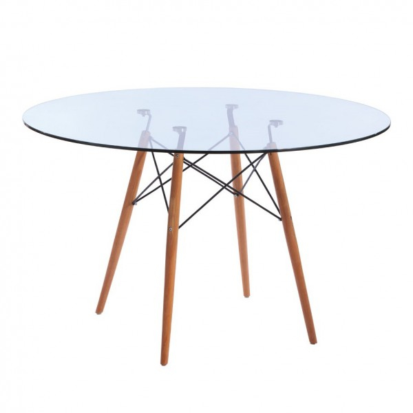 Best And Newest Replica Eames Eiffel Wood Leg Table – 120Cm Glass Top Pertaining To Eames Style Dining Tables With Chromed Leg And Tempered Glass Top (#3 of 20)
