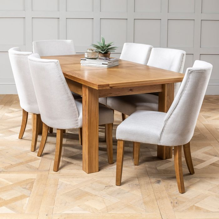 Best And Newest Solid Oak Medium Extending Dining Table + 6x Keswick Oatmeal Chairs Within Medium Dining Tables (View 4 of 20)