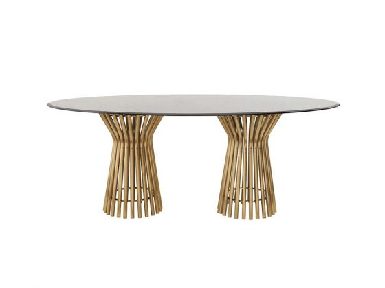 Best And Newest Vera Dining Table Oval Top With Smoked Oval Glasstop Dining Tables (View 7 of 20)