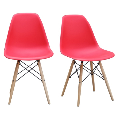 Best And Newest Viscologic Prague Eames Style Eiffel Side Dining Chairs Set With Natural  Wooden Legs (White) Regarding Eames Style Dining Tables With Wooden Legs (#2 of 20)