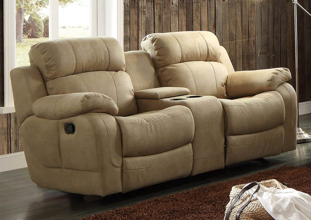 Best Buy Furniture And Mattress Marille Taupe Double Glider In Double Glider Loveseats (#2 of 20)