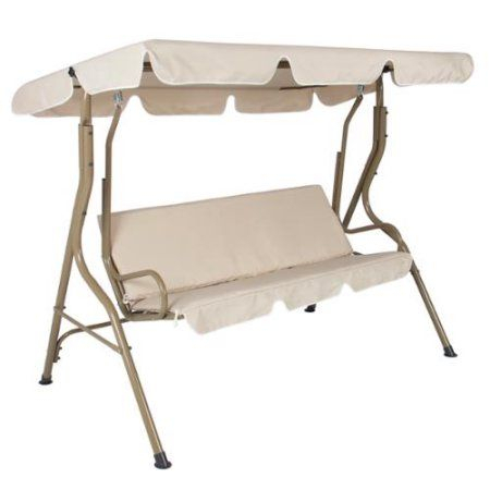 Popular Photo of 2 Person Outdoor Convertible Canopy Swing Gliders With Removable Cushions Beige