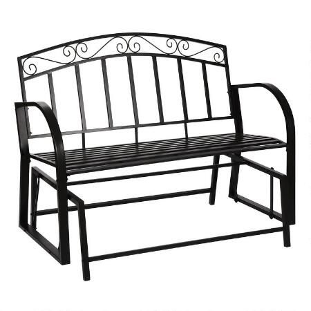 Black Park Bench Glider | Outside In 2019 | Outdoor Chairs With Regard To Black Outdoor Durable Steel Frame Patio Swing Glider Bench Chairs (View 9 of 20)
