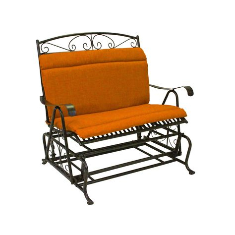 Blazing Needles Spun Poly Double Glider Chair Outdoor With Double Glider Benches With Cushion (#2 of 20)