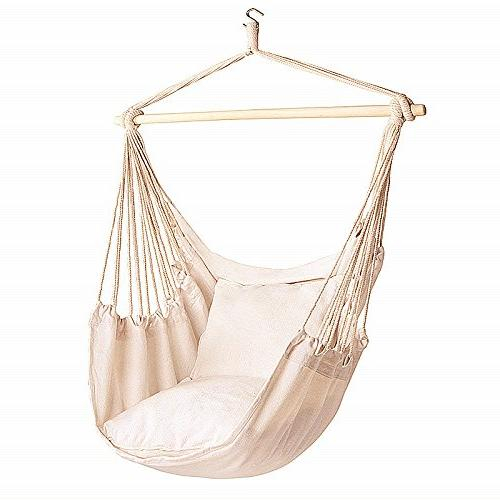 Bormart Hanging Rope Hammock Chair Large Cotton Weave Porch Swing Seat Comfortable And Durable Hanging Chair For Yard, Bedroom, Porch, Indoor, Outdoor Pertaining To Cotton Porch Swings (View 5 of 20)