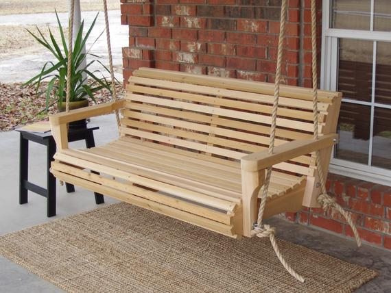Brand New 4 Foot Cedar Wood Contoured Classic Porch Swing With Hanging Rope – Free Shipping With Contoured Classic Porch Swings (View 9 of 20)