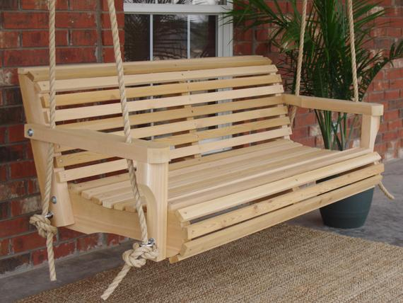 Brand New 4 Foot Cedar Wood Contoured Classic Porch Swing With Hanging Rope – Free Shipping Within Contoured Classic Porch Swings (View 5 of 20)
