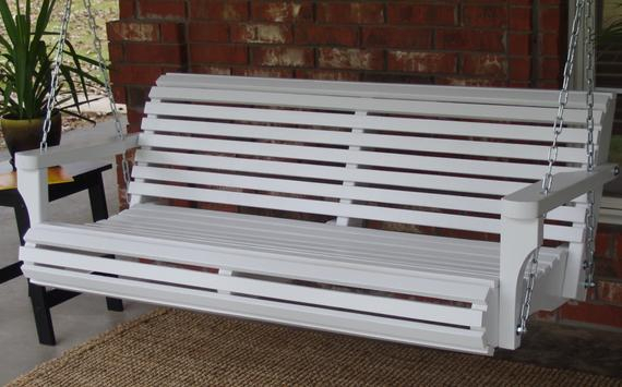 Brand New 5 Foot Painted Contoured Classic White Porch Swing – With Hanging Chain Or Rope – Free Shipping Regarding Contoured Classic Porch Swings (View 14 of 20)