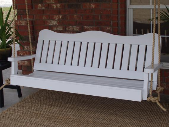 Brand New 5 Foot Painted Decorative White Porch Swing – With Hanging Chain Or Rope – Free Shipping In A4 Ft Cedar Pergola Swings (View 19 of 20)