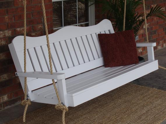 Brand New 5 Foot Painted Decorative White Porch Swing – With Hanging Chain Or Rope – Free Shipping Pertaining To A4 Ft Cedar Pergola Swings (View 7 of 20)