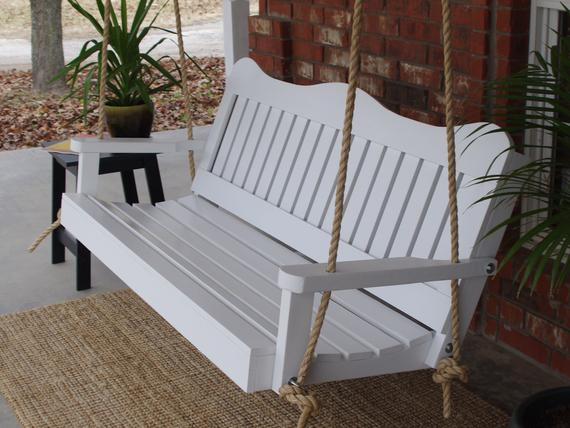 Brand New 5 Foot Painted Decorative White Porch Swing – With Hanging Chain Or Rope – Free Shipping With Regard To A4 Ft Cedar Pergola Swings (View 12 of 20)