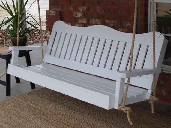 Brand New 5 Foot Painted Decorative White Porch Swing – With Hanging Chain Or Rope – Free Shipping With Regard To A4 Ft Cedar Pergola Swings (View 8 of 20)