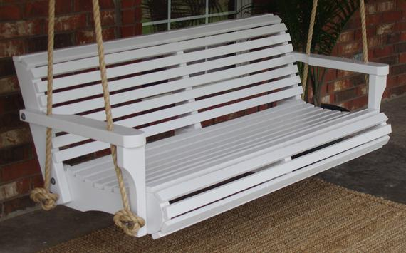 Brand New 6 Foot Painted Contoured Classic White Porch Swing – With Hanging Chain Or Rope – Free Shipping Throughout Contoured Classic Porch Swings (View 6 of 20)