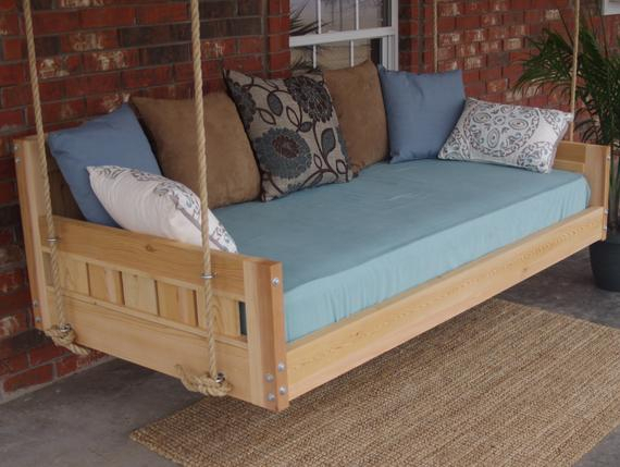 Brand New Cedar Daybed Swing In Country Style, Full Size Swinging Bed With Hanging Chain Or Rope – Free Shipping Pertaining To Country Style Hanging Daybed Swings (View 4 of 20)