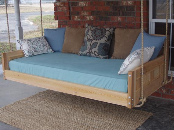 Brand New Cedar Daybed Swing In Country Style, Queen Size Swinging Bed With Hanging Chain Or Rope – Free Shipping With Regard To Country Style Hanging Daybed Swings (View 8 of 20)