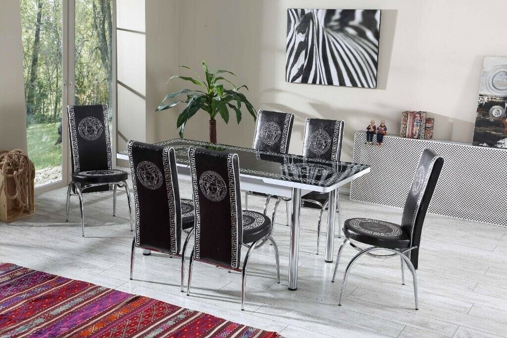 Brand New Versace Extendable Glass Dining Table With 4 Or 6 Leather Chair  In Black/white Colors (#4 of 20)