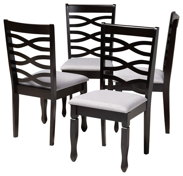 Brande Gray Fabric Espresso Brown Finish Dining Chairs, Set Of 4 Throughout Well Liked Espresso Finish Wood Classic Design Dining Tables (#3 of 20)