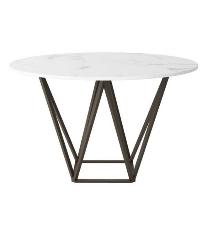 Brass Geometric Base White Marble Top Dining Table Throughout 2020 Dining Tables With White Marble Top (#1 of 20)