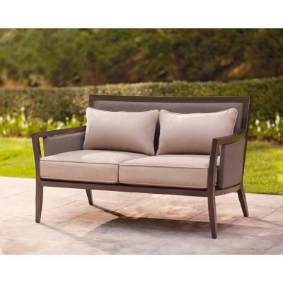 Brown Jordan Greystone Patio Loveseat With Sparrow Cushions Pertaining To Padded Sling Loveseats With Cushions (#3 of 20)