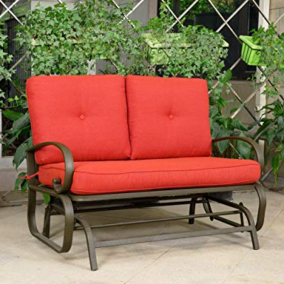 Buy Cloud Mountain Patio Glider Bench Outdoor Cushioned 2 Regarding Rocking Glider Benches With Cushions (View 17 of 20)