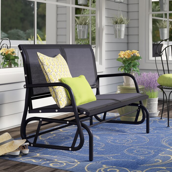 "Callen 49"" Outdoor Patio Swing Glider Bench Chair – Dark Grey In Outdoor Steel Patio Swing Glider Benches (View 12 of 20)"
