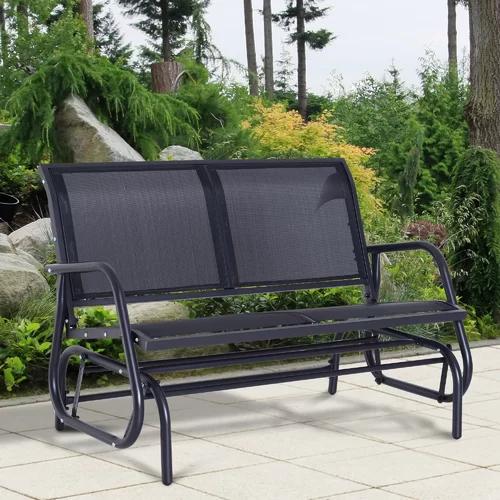"""Callen 49"""" Outdoor Patio Swing Glider Bench In 2019 With Regard To Outdoor Steel Patio Swing Glider Benches (View 8 of 20)"""