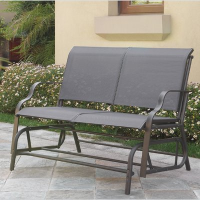 Callen 49″ Outdoor Patio Swing Glider Bench | Outdoor Within Outdoor Steel Patio Swing Glider Benches (View 6 of 20)