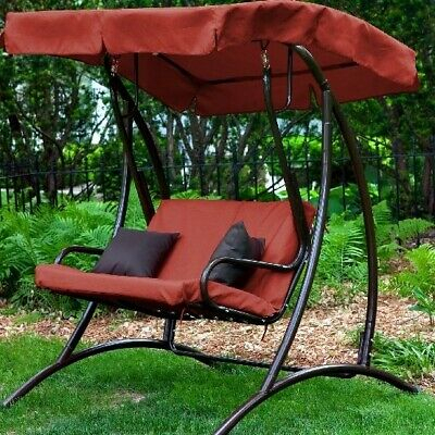 Canopy Swing With Stand Porch Patio Outdoor Chair Terra Cotta Seat Bench Garden   Ebay Inside Canopy Patio Porch Swing With Stand (View 7 of 20)