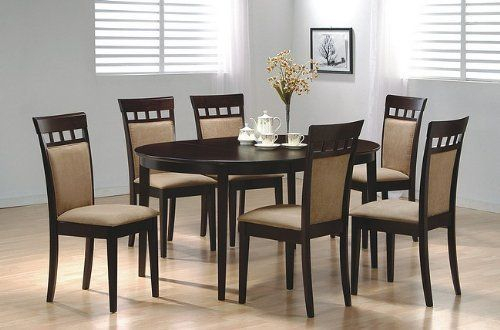 Cappuccino Finish Wood Classic Casual Dining Tables Within Most Recently Released Simple Dining Table Chairs Amazon – 7pc Contemporary (View 15 of 20)