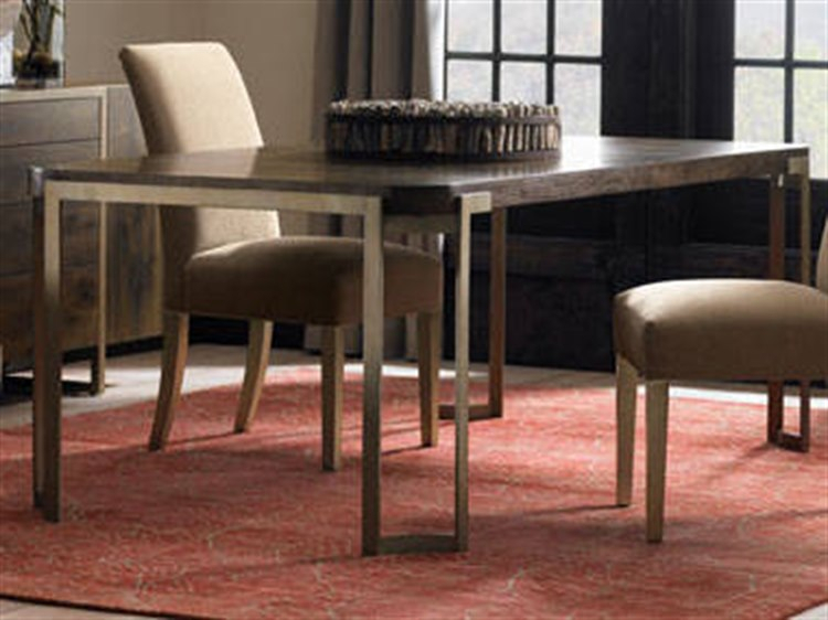 Caracole Modern Artisans Dark Fumed Oak With Matte Gold 80 100''w X 42''d  Rectangular Extension Dining Table With Extension Throughout Most Popular Fumed Oak Dining Tables (#3 of 20)