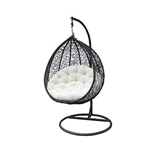 Carry Bird Hanging Swing Chair With Cushion Inside 1 Person Antique Black Iron Outdoor Swings (#4 of 20)