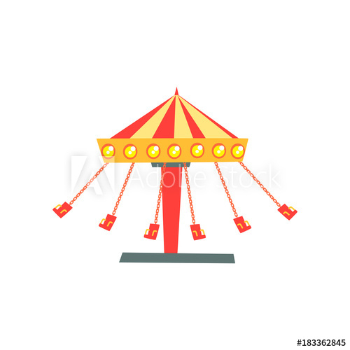Cartoon Icon Of Swinging Carousel With Seats On Chains In For Swing Seats With Chains (View 13 of 20)