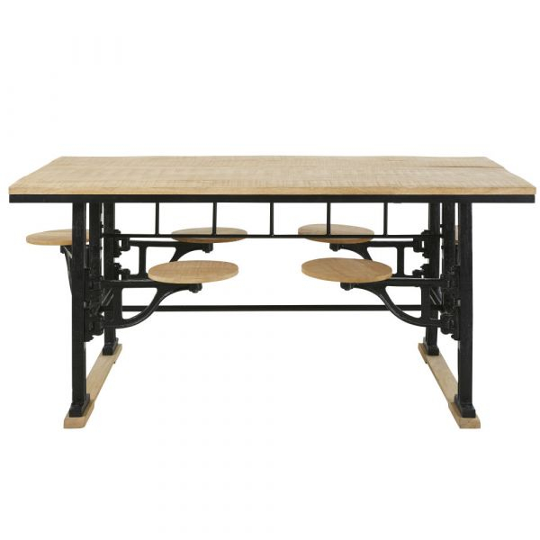 Cast Iron And Mango Wood 8 Seater Dining Table With Stools For Most Up To Date Iron Dining Tables With Mango Wood (#4 of 20)