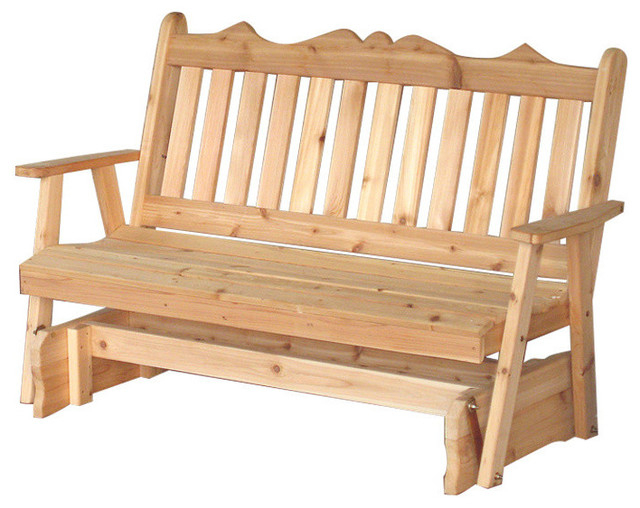 Cedar Royal English 5' Glider Bench, Natural Pertaining To 2 Person Natural Cedar Wood Outdoor Gliders (#10 of 20)