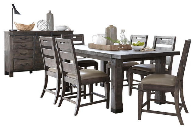 Charcoal Transitional 6 Seating Rectangular Dining Tables Pertaining To Best And Newest Magnussen Abington 8 Piece Rectangular Dining Set, Weathered Charcoal (#3 of 20)