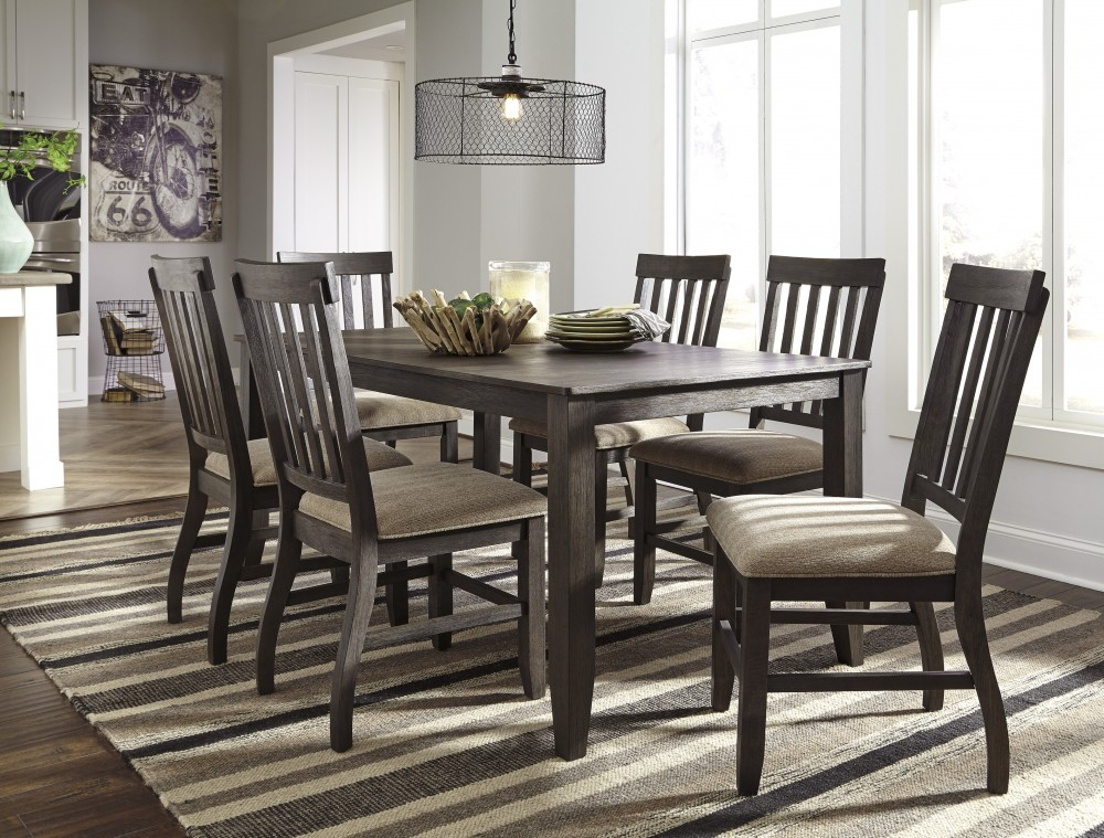 Inspiration about Charcoal Transitional 6 Seating Rectangular Dining Tables Pertaining To Most Current Dresbar – Grayish Brown – Rectangular Dining Room Table & 6 Uph Side Chairs (#13 of 20)