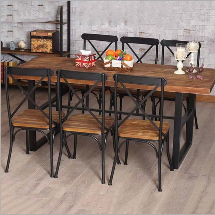 Cheap American Country Retro Wood Furniture, Wrought Iron Table In The Restaurant The Family Dinner Table Dinette Combination Fe In Within Iron Wood Dining Tables (View 5 of 20)