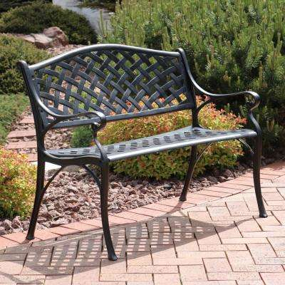Checkered 2 Person Black Cast Aluminum Outdoor Bench With 2 Person Antique Black Iron Outdoor Gliders (#5 of 20)