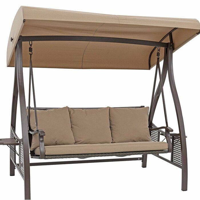 Chenault Outdoor Canopy Hammock Porch Swing With Stand Regarding Patio Loveseat Canopy Hammock Porch Swings With Stand (View 7 of 20)