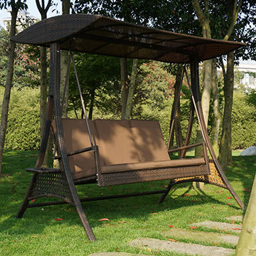 China 3 Seat Rattan Wicker Patio Swing Chair From Shenzhen Throughout 3 Seat Pergola Swings (View 9 of 20)