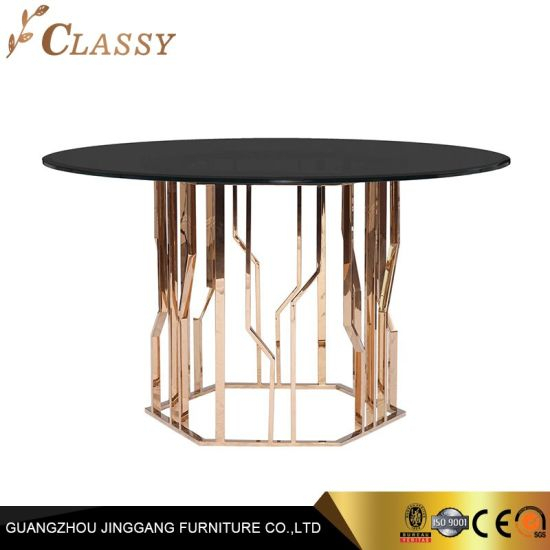 China Modern Round Dining Table Glass Top Metal Base – China Within Trendy Modern Round Glass Top Dining Tables (#4 of 20)