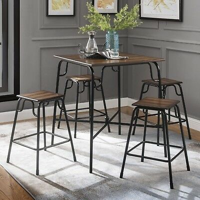 Chrome Contemporary Square Casual Dining Tables With Regard To Most Popular Dining Table Set Counter Height Pub Bistro Kitchen Tables And Chairs Sets  Modern (#5 of 20)