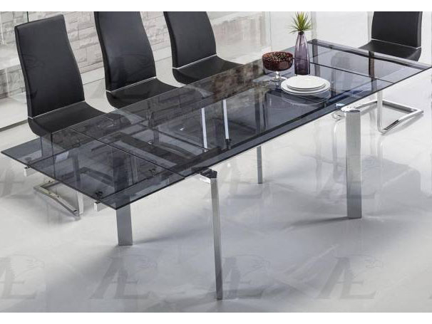 Chrome Dining Tables With Tempered Glass Inside Well Known Smoked Glass Top Extendable Dining Table Chrome Legs (#1 of 20)